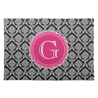 Black Floral Damask Pattern Hot Pink Monogram Placemat