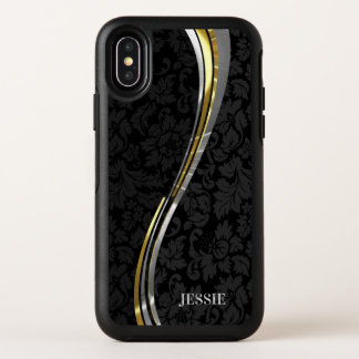 Black Floral Damask Silver Gold Wavy Stripes OtterBox Symmetry iPhone X Case