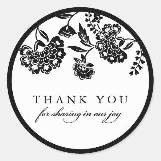 black floral damask thank you sticker
