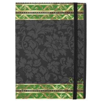 Black Floral Damasks-Green And Gold Border Frame
