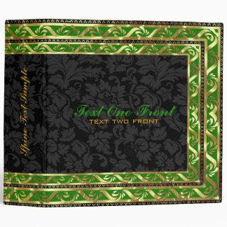Black Floral Damasks - Green & Gold Border Frame 3 Ring Binder