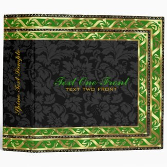 Black Floral Damasks - Green & Gold Border Frame