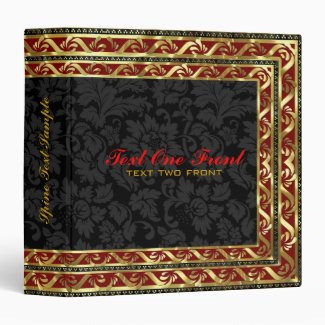 Black Floral Damasks Red & Gold Border Frame