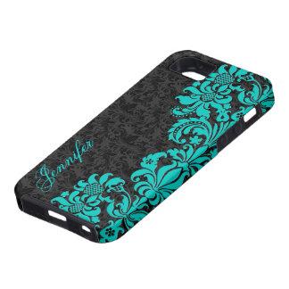 Black Floral Damasks With Blue-Green Lace iPhone SE/5/5s Case