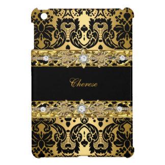 Black Floral Gold Damask iPad Mini Cases