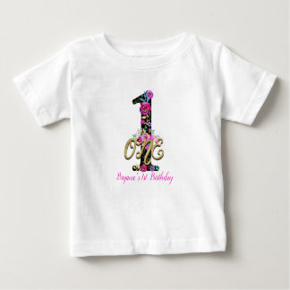 Black Floral Gold Glitter ONE 1 1st Birthday Party Baby T-Shirt