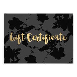 Black Floral Gold Text Gift Certificate Card