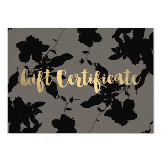 Black Floral Gold Text Gray Gift Certificate Card
