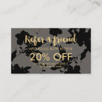 Black Floral Gold Text Gray Salon Referral Card
