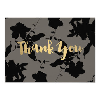 Black Floral Gold Text Gray Thank You Card
