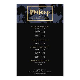 Black Floral Gold Text Makeup Artist Blue Flyer
