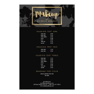 Black Floral Gold Text Makeup Artist Flyer