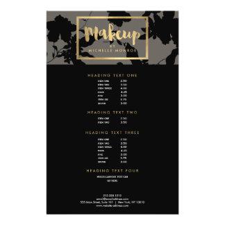 Black Floral Gold Text Makeup Artist Gray Flyer