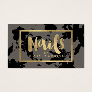 Black Floral Gold Text Nail Salon Gray Business Card
