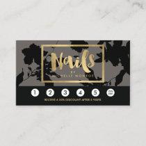 Black Floral Gold Text Nail Salon Gray Loyalty