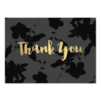 Black Floral Gold Text Thank You Card