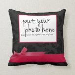 Black Floral Hot Pink Ribbon and Bow Photo Pillow