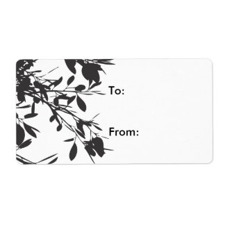Black Floral Personalized Shipping Label