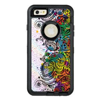 Black Floral Lace & Colorful Paint Splatter OtterBox Defender iPhone Case