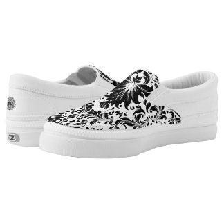 Black Floral Lace Slip-On Sneakers