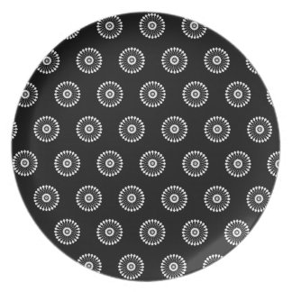 Black Floral Melamine Dinner Plate