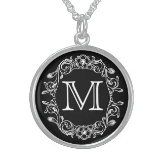 Black Floral Monogrammed Sterling Silver Necklace