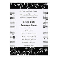 Black Floral Music Wedding Invitation