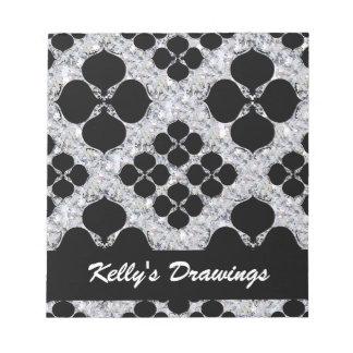 Black Floral On Diamond Pattern Notepad