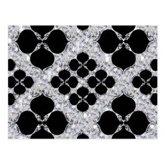 Black Floral On Diamond Pattern Postcard