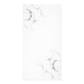 Black floral on white background with black border card