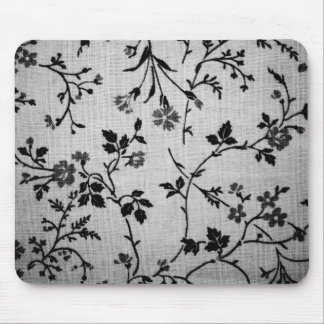 Black Floral on White Mouse Pad
