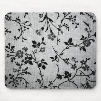 Black Floral on White Mousepad