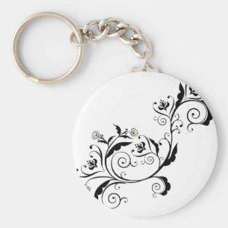 Black Floral Ornament Keychain