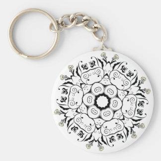 Black Floral Ornament Round Keychain