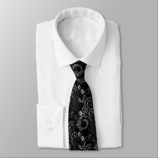 Black Floral Paisley Lacework Pattern Tie
