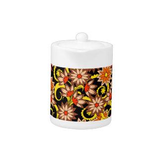 black floral pattern in boho style teapot