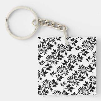 Black Floral Pattern Keychain