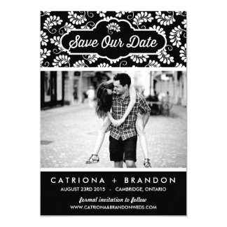 BLACK FLORAL PATTERN | SAVE THE DATE ANNOUNCEMENT