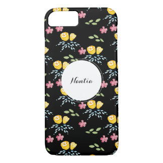 Black Floral Pattern with Custom Name Tag iPhone 7 Case
