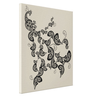 Black Floral Peacock Deco Art Canvas Print