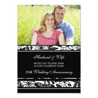 """Black Floral Photo 20th Anniversary Invitation 5"""" X 7"""" Invitation Card"""