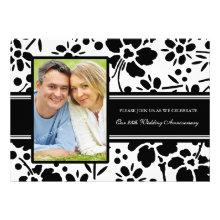 Black Floral Photo 25th Anniversary Invitation