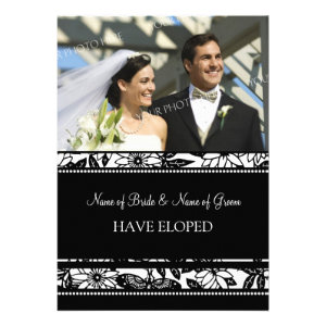 Black Floral Photo Elopement Announcement Cards