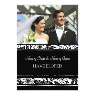 Black Floral Photo Elopement Announcement Cards