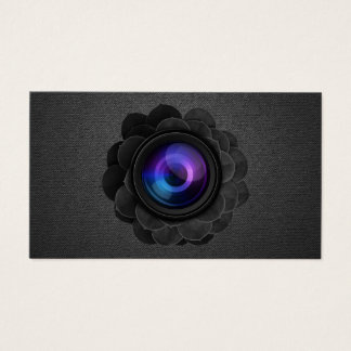 Black Floral Photography Elegant Dark Photographer Business Card