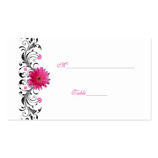 Black Floral Pink Gerbera Daisy Place Card