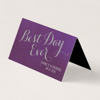 Black Floral Purple and Silver Seating Place Card