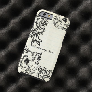 Black Floral Rose Antique Stained Lined Note Paper Tough iPhone 6 Case