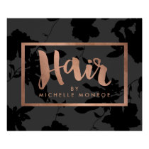 Black Floral Rose Gold Text Hair Stylist Poster