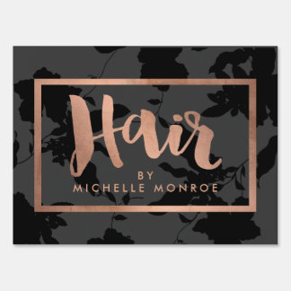 Black Floral Rose Gold Text Hair Stylist Sign